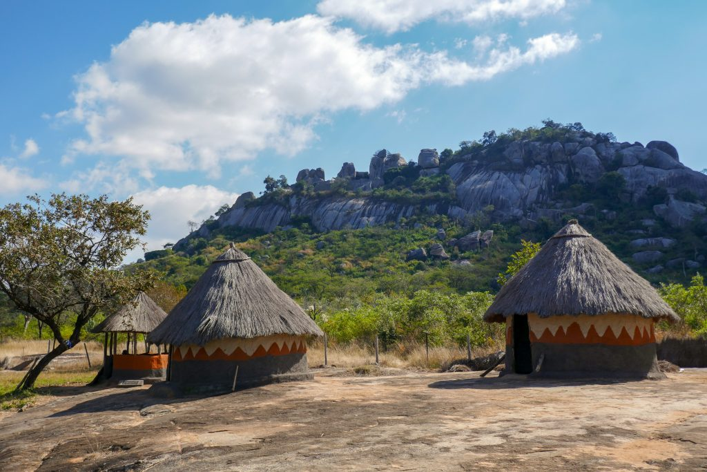 View of Hill Complex of Great Zimbabwe ruins from cultural village