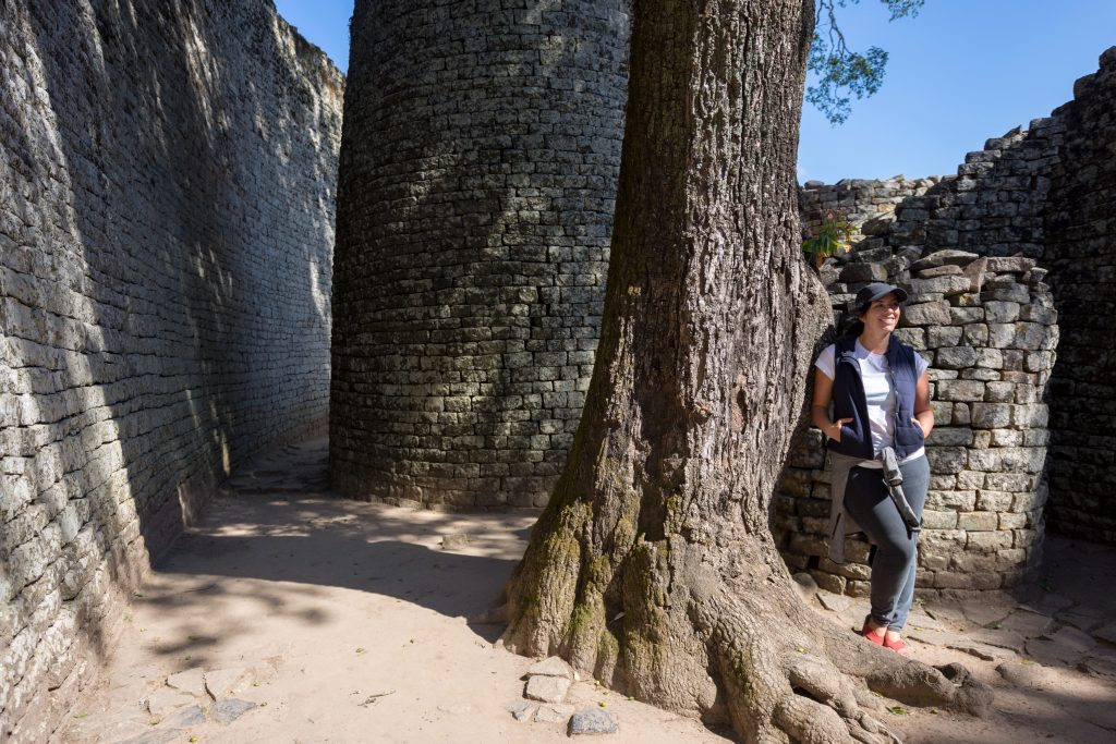 Narrow passageway of Great Enclosure at Great Zimbabwe ruins