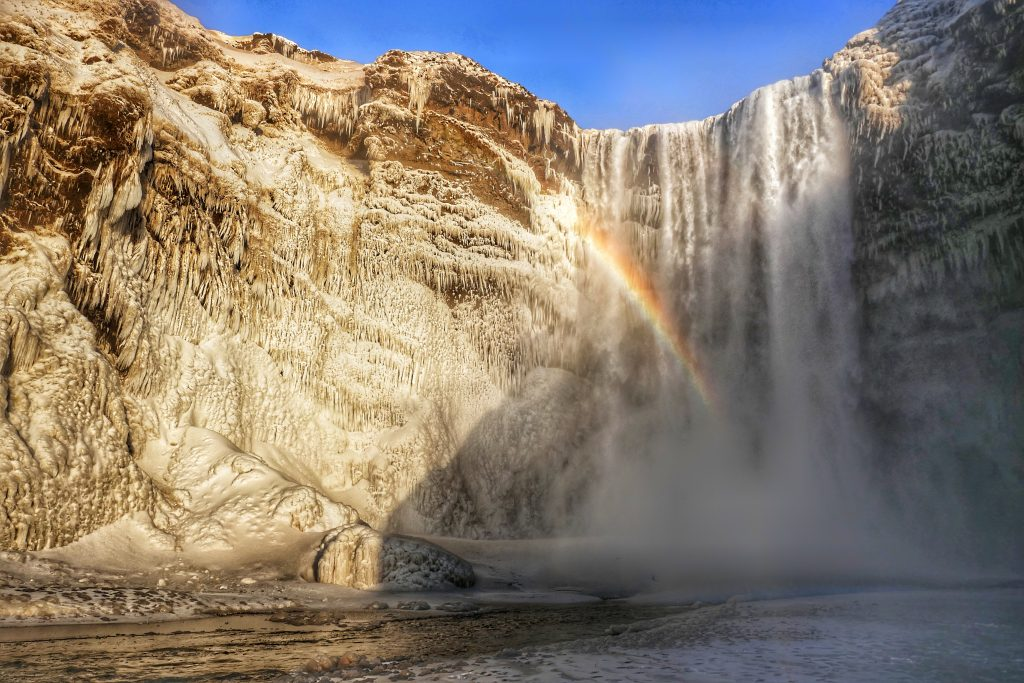 waterfalls in South Iceland in the winter