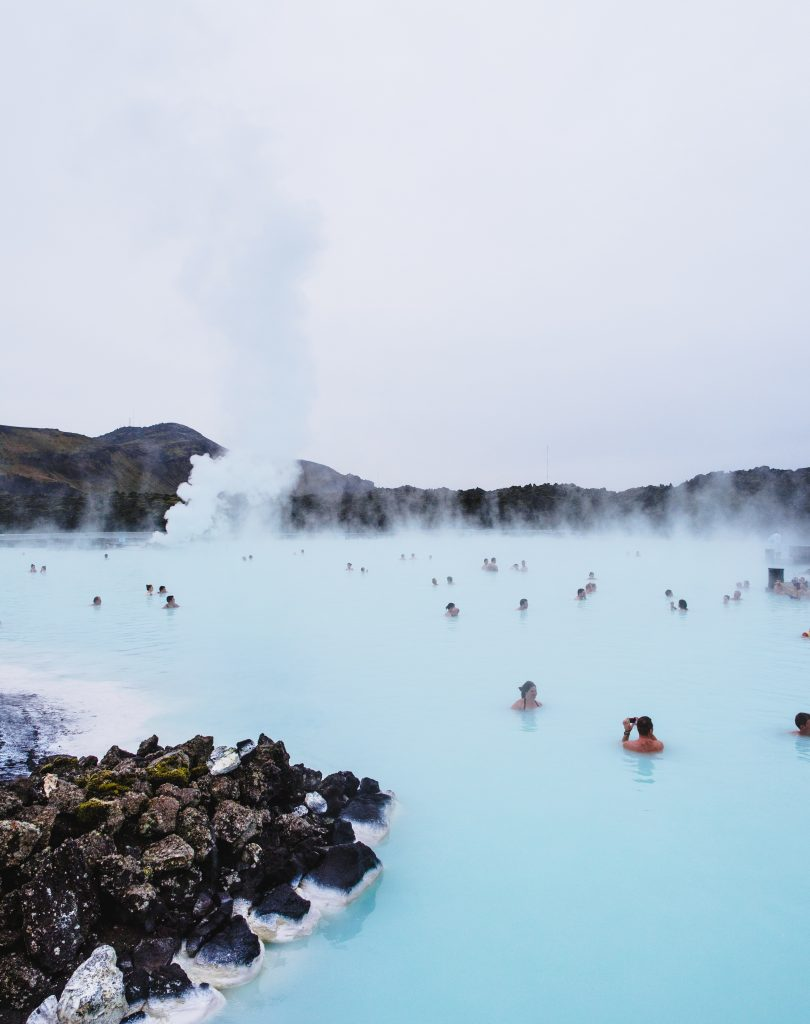 blue lagoon in iceland in the winter