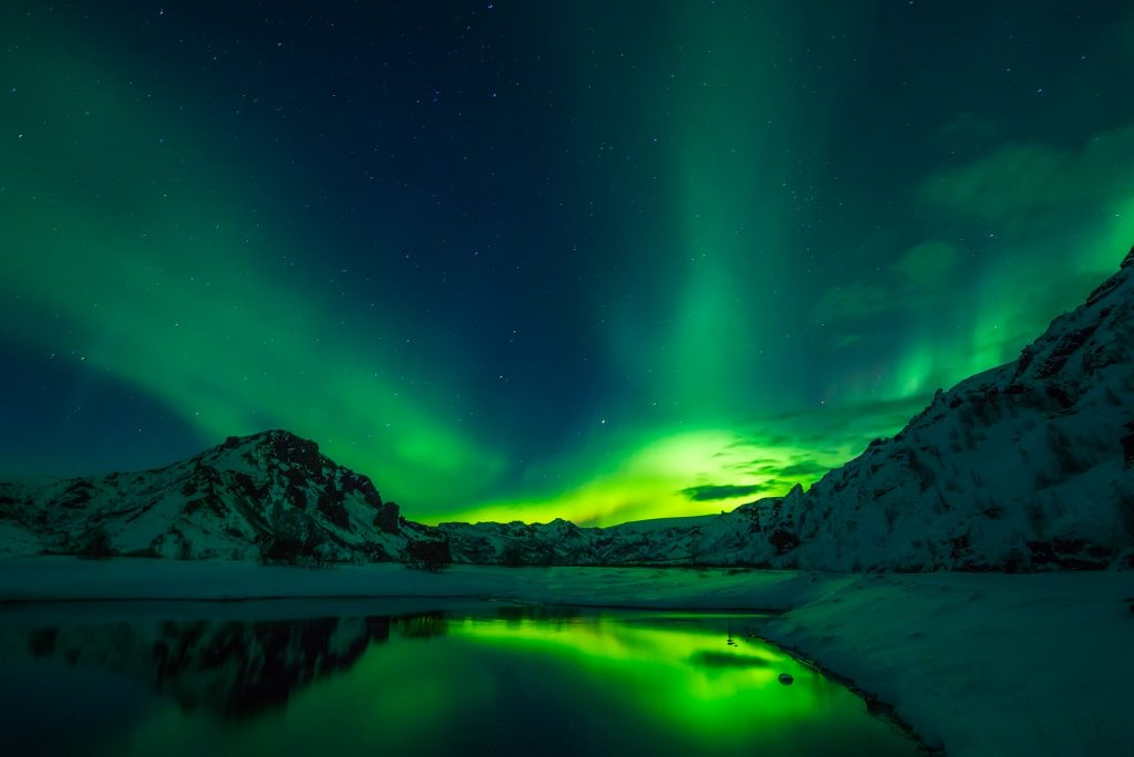 northern lights season in iceland in the winter