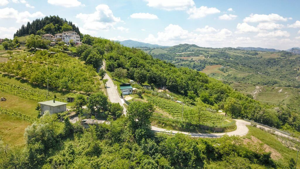 Bicycling path in San Marino from Borgo Maggiore, rolling green hills