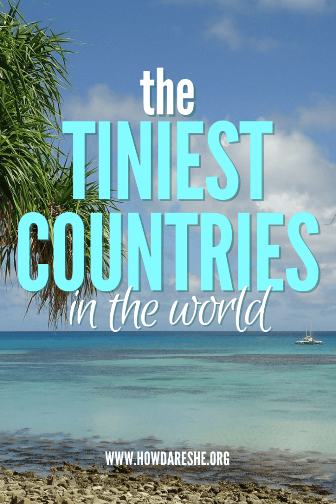 Text: Tiniest countries in the world, image: waters of Tuvalu