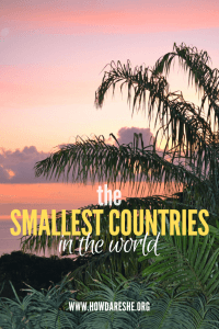 Text: Tiniest countries in the world, image: pink sunset in Seychelles