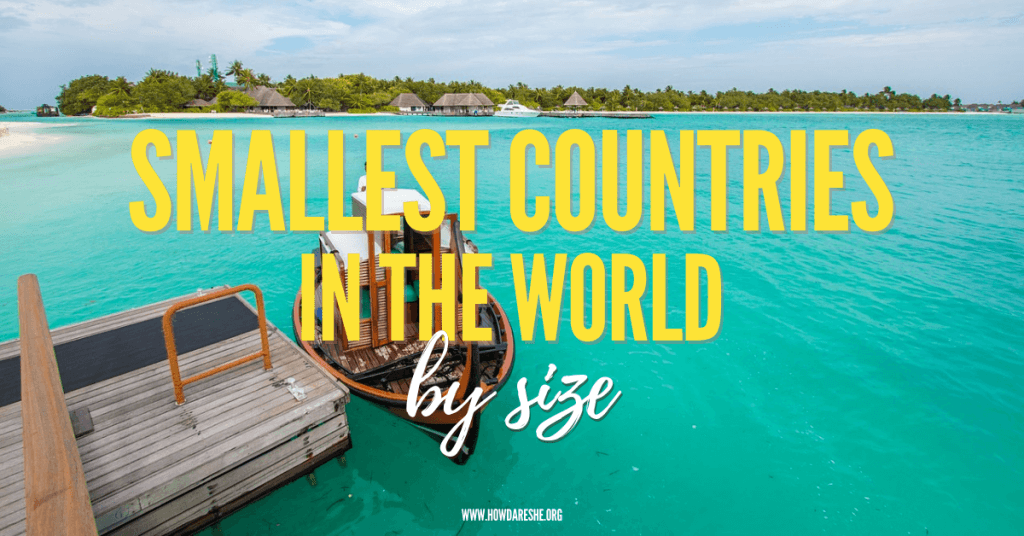 Text: smallest countries in the world by size, image of the Maldives blue water