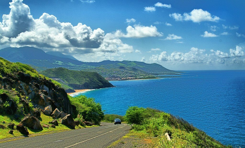 Lush hills of Saint Kitts and Nevis with beaches