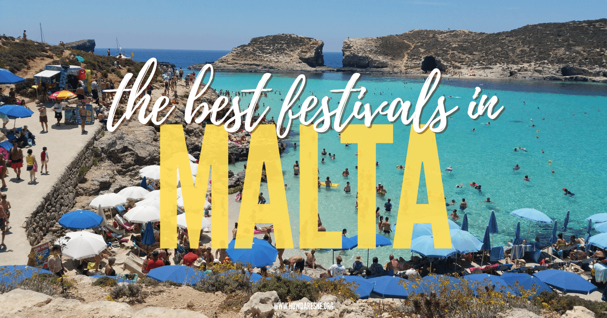 Text: the best festivals in Malta, image: beaches of Malta, blue water