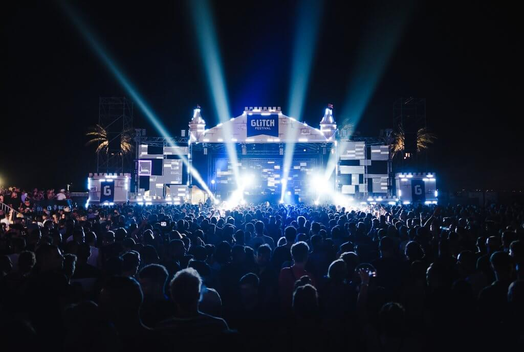 Crowd and stage at Glitch festival 2018 in Rabat