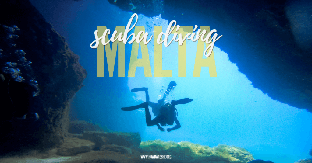Text scuba diving in Malta with silhouette of two divers in a cave