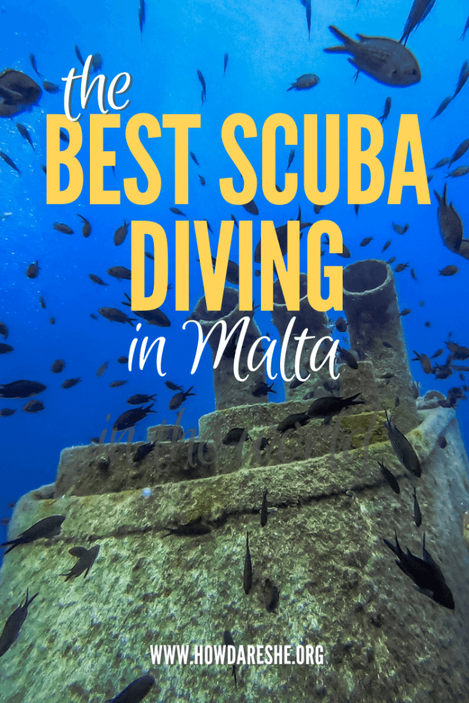 Text the best scuba diving in malta with fish swimming in a sunken wreck