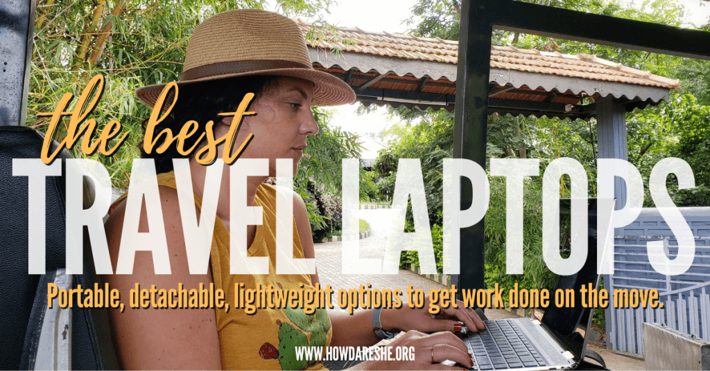 Best travel laptops for digital nomads (featured image with text - using laptop on safari in India)