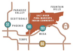 Drawn map of Salt River Pima-Maricopa Indian Community location, between the 101 and 202