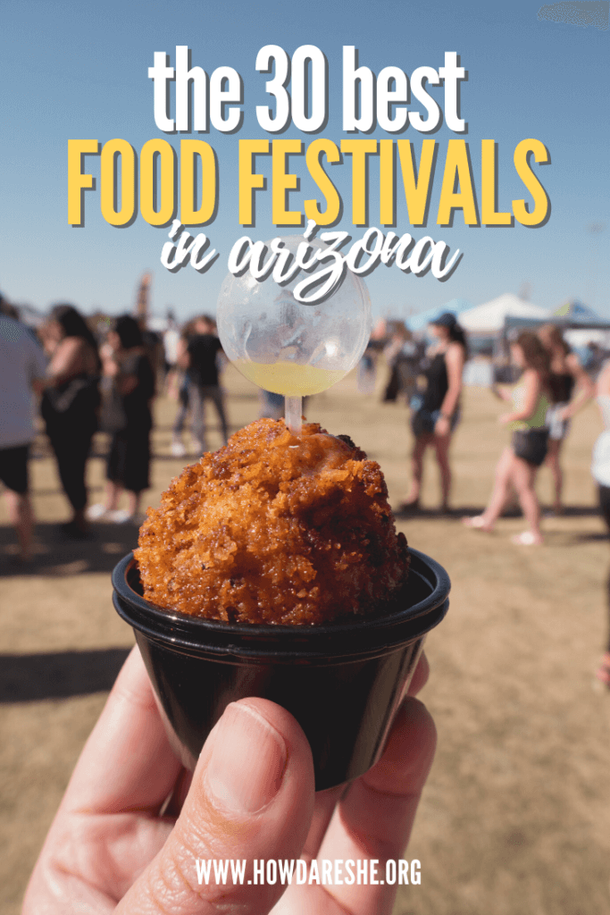 Mac and cheese fest image with text of best food festivals in arizona