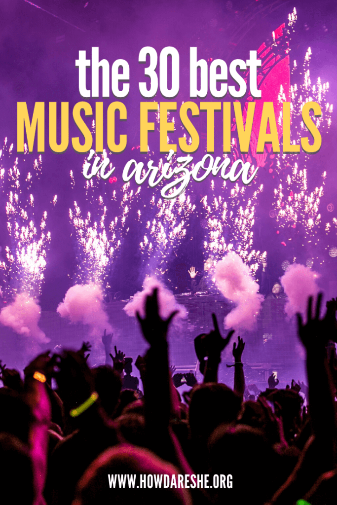 Image purple stage with firework elements and smoke with text of 30 best music festivals in arizona