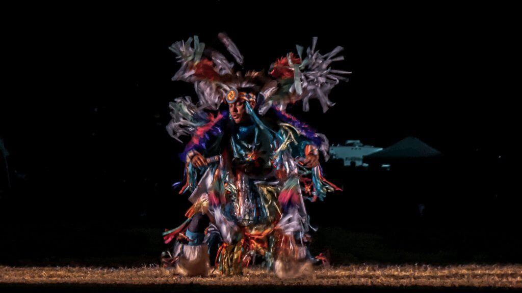 Traditional dancer doing a spotlight dance at Red Mountain Eagle Pow Wow