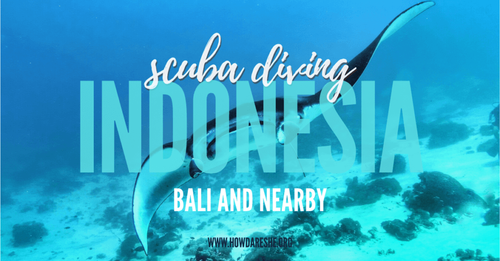 "Text ""scuba diving indonesia bali and nearby"" overlayed on image of manta ray"