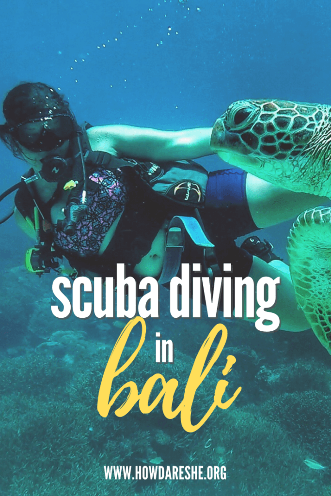 "Text ""scuba diving in bali"" overlayed on image of brunette female diving and looking at swimming turtle underwater"