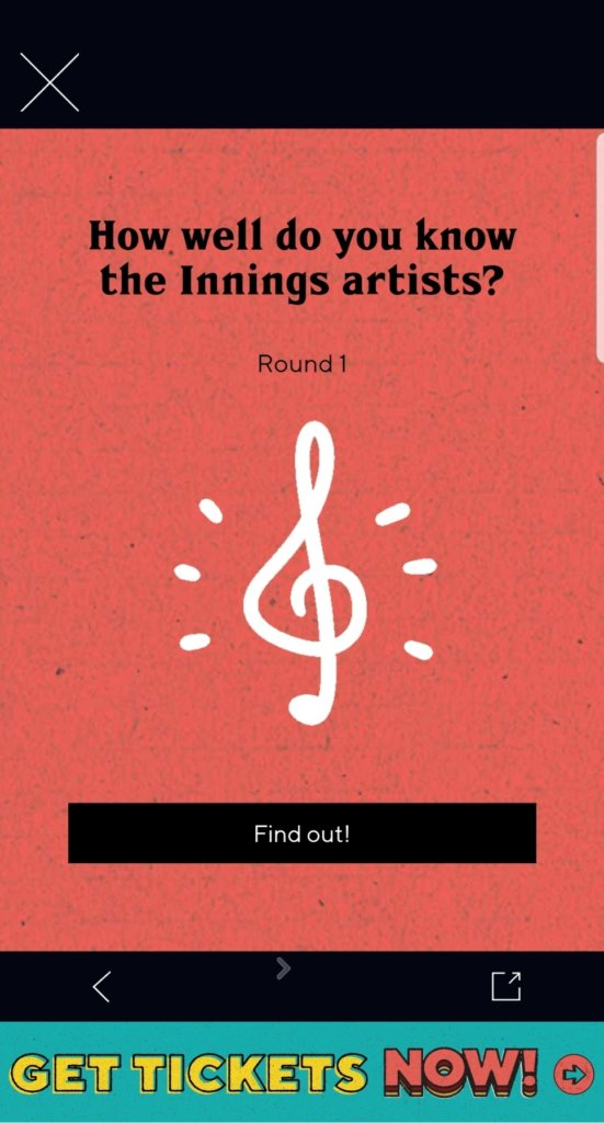 "Screenshot of the Innings Festival app Curveball Trivia section, coral background with a white music note and text ""How well do you know the Innings artists?"""