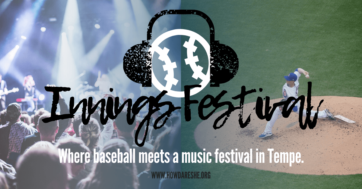 "Text ""Innings Festival. Where baseball meets a music festival in Tempe"" overlaid on images of a pitcher mid throw on the mound in white pinstripe Cubs uniform and a concert stage with lights silhouetting the crowd."