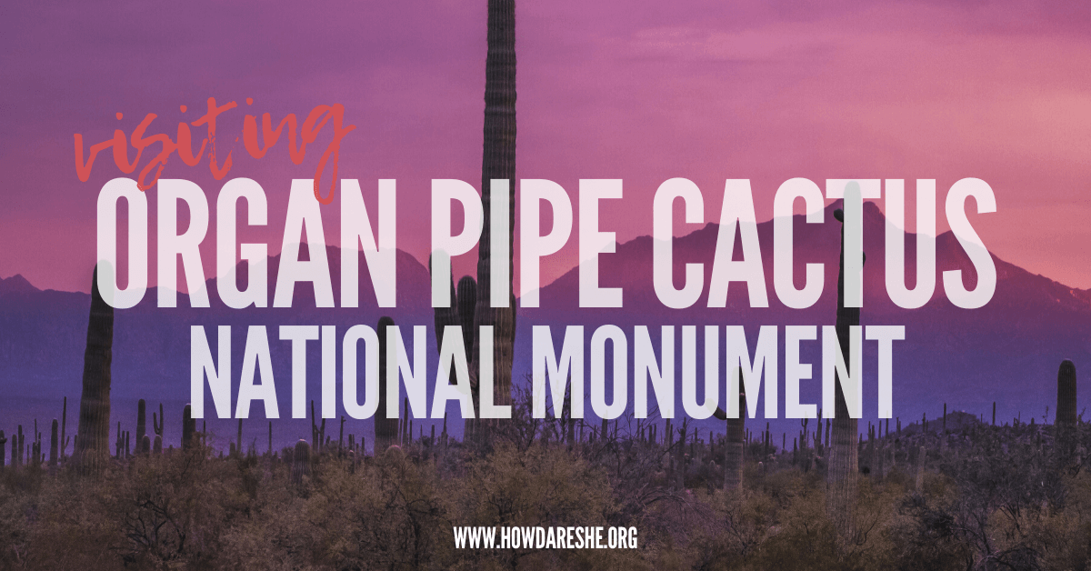 """Text """"Organ Pipe Cactus National Monument"""" overlayed on pink and purple sunset, silhouetting tall saguaro cacti and mountains in Organ Pipe"""